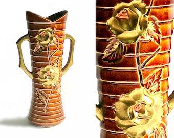 GORGEOUS Enesco Vase Vintage Gold Roses, Vintage Enesco Vase, Brown Gold Tiered Ceramic Vase, Mid Century Vase, Golden Rose Handled Vase