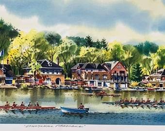 by William C Philadelphia Boathouse Glow Ressler 17 X 24 inches