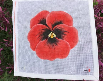 Red Pansy Needlepoint Canvas Jody Designs #J47D