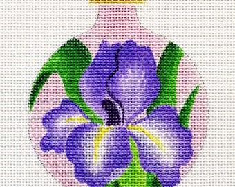 Iris with Pink background  Needlepoint Ornament  - Jody Designs B26B