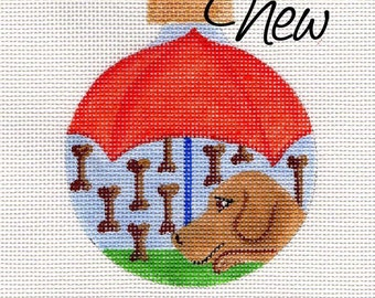 Dog and Raining Dogbones Needlepoint Ornament - Jody Designs     B205B  Cooper Umbrella