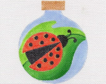 Ladybug Blue Background Needlepoint Ornament - Jody Designs  B78B