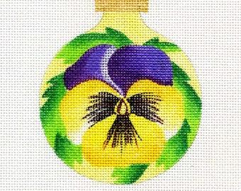 Pansy/purple and yellow Needlepoint Ornament - Jody Designs B43A