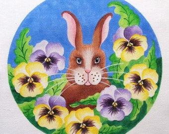 Bunny in Pansies Needlepoint  Jody Designs