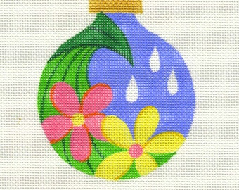 Spring Flowers and Raindrops Needlepoint Ornament - Jody Designs  B4-00