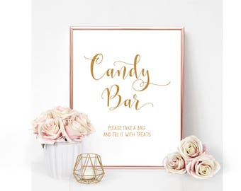 REAL Gold Foil Sign-Candy Bar Sign-REAL Gold Foil Wedding Signs