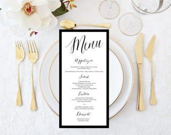 Wedding Menu 4x9 - Shower Menu-Dinner Party Menu