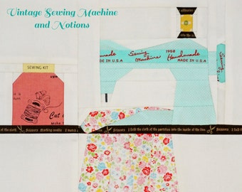 Vintage Sewing Machine & Notions  Paper Piecing Pattern