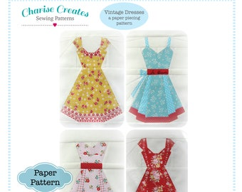 Vintage Dresses Paper Piecing Pattern ~ Printed Pattern