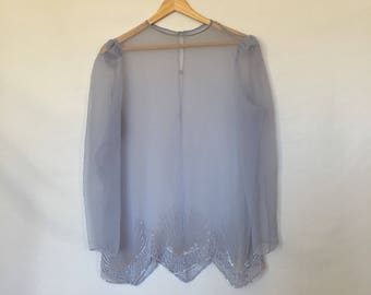 Vintage Periwinkle Ingido Blue Beaded Sheer Blouse