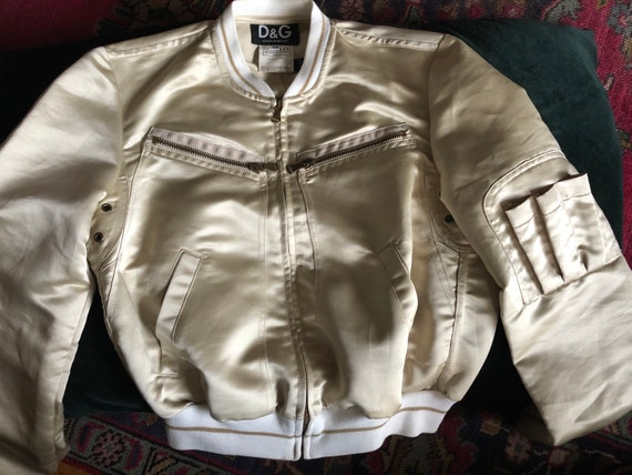 Early 2000s DOLCE & GABBANA Gold Satin Bomber Jack