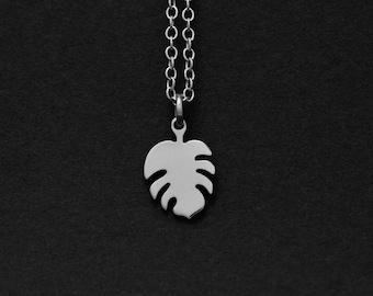 Silver or Gold Little Monstera Leaf Necklace