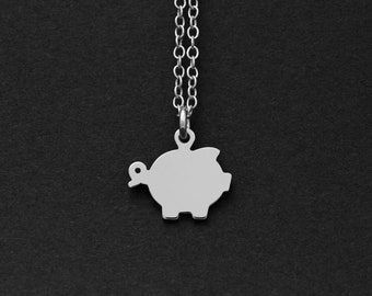 Silver or Gold Pig Necklace