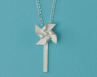 Handfolded Spinnable Sterling Silver Pinwheel Necklace (post down)