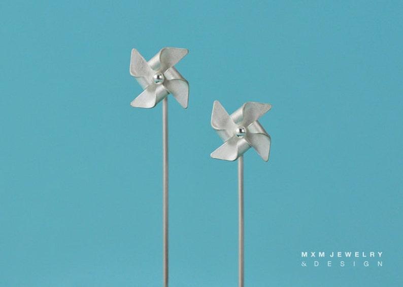 Hanfolded Sterling Silver Pinwheel Earrings W/Long Post image 0