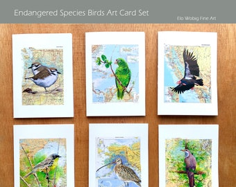 Art Card Set of 6 Endangered Species Birds on Map note cards blank inside 5x7 frameable art of Original Acrylic Paintings by Elo Wobig