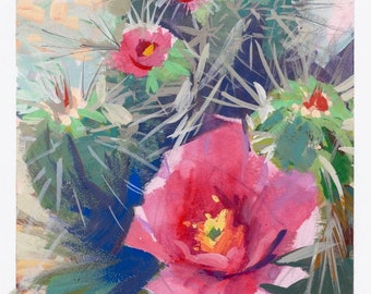 Original gouache painting Cactus blossoms  Prickly Posy desert landscape unframed artwork by Elo Wobig