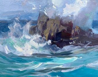 Ocean crashjng waves marine Monterey California impressionist oil painting contemporary art 6x8 inch original art by Elo Wobig