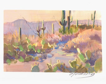 Original gouache painting Cactus Sunset arizona landscape unframed artwork by Elo Wobig