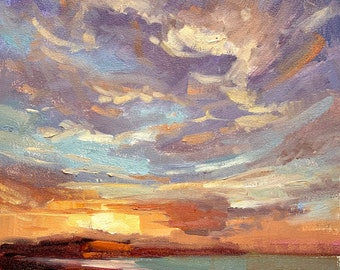 Sunset clouds over beach ocean original oil painting impressionist 8x8 in square art home decor gallery by Elo Wobig