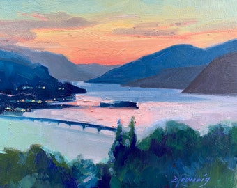 Original Oil painting, sunset over Columbia River Gorge Hood River 8x10 landscape artwork by Elo Wobig
