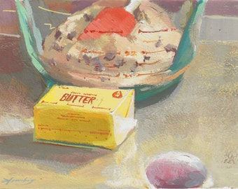 Original gouache painting Made From Scratch gouache still life realism baking ingredients spatula Pyrex chocolate chips cookies by Elo Wobig