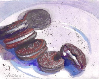Original gouache food still life painting Oreo cookies on a plate unframed artwork by Elo Wobig