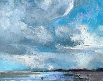 Original Oil Painting Impressionist Landscape Seaside Beach Cloudscape Oregon Coast 6 x 8 in artwork by Elo Wobig