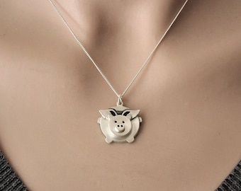 Sterling silver Flying pig necklace, cute flying pig pendant, when pigs fly