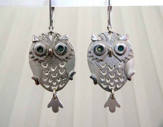 Green Owl Earrings Owl Jewelry Silver Owl Earrings Green Bird Earrings Owls with Crowns Crown Earrings Gift for Her Whimsical Earrings