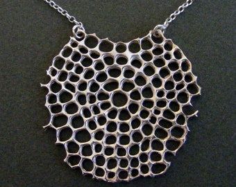 Sterling silver Net necklace, net pendant, Ernst Haeckel