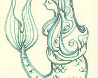 Original watercolor painting Mermaid