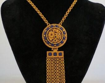 60's Lucien Piccard Statement Etruscan Style Medallion Fringe Tassel Necklace