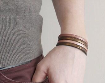 Bracelet en Cuir pour femmes -  Keep calm and smile