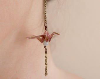 Boucles d'oreilles Origami - Mauve & Calcedoine