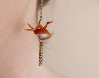 Boucles d'oreilles Origami - Mauve