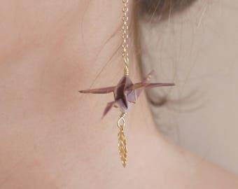 Boucles d'oreilles Origami - Mauve & Quartz rose