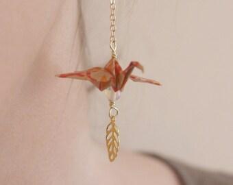 Boucles d'oreilles Origami - Orange & Opale
