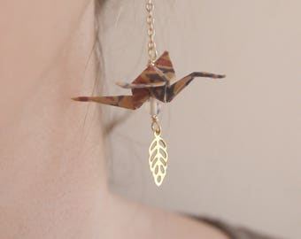 Boucles d'oreilles Origami - Taupe & Opale