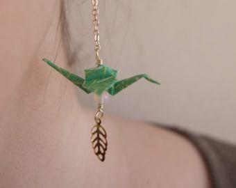 Boucles d'oreilles Origami - Vert & Opale