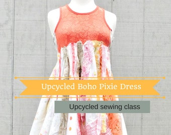 Patchwork, Sewing Classes, Upcycled Sewing, Refashion, Swing Dress, Pixie Dress, Sew, Online Class, Boho, Tutorials, Vintage, Patterns, Plus