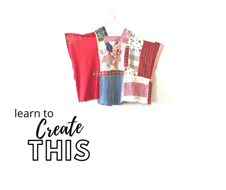 Poncho Sewing Classes PDF Class Upcycled Sewing Video DIY image 0
