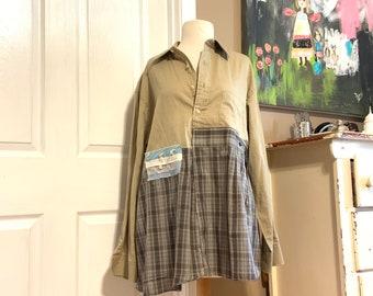 Upcycled Tan and Gray Plaid Tunic, Upcycled Clothing, Boho, Bohemian, Clothing, CreoleSha