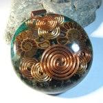 Large Ammonite Orgone Pendant - Chrysocolla and Emeralds