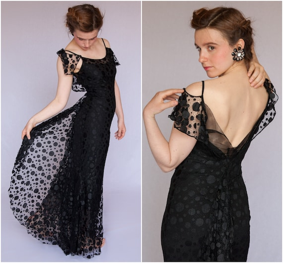 1930 French Polka Dots Lace Dress