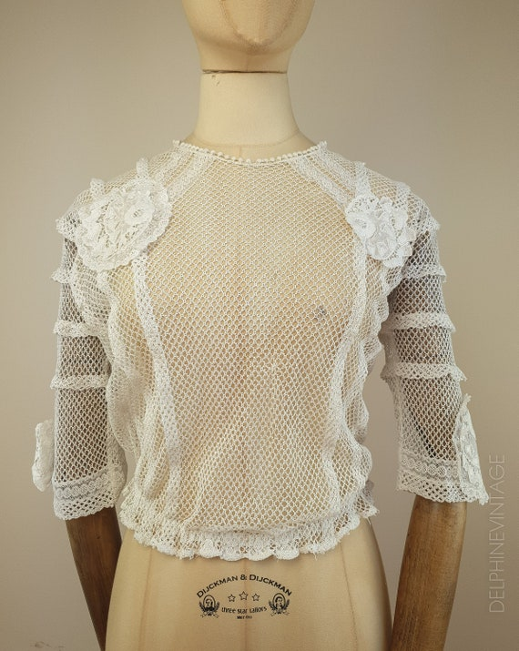 Edwardian Blouse / Fishnet Blouse / Embroidered Bl