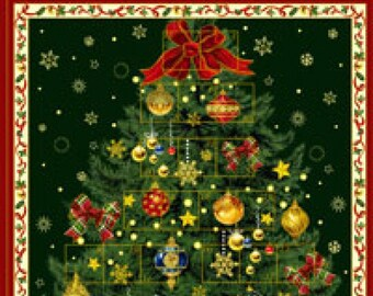 Ornament Advent Calendar Christmas Tree Fabric Panel #103-71602