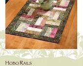Hobo Rails Table Runner Pattern, DFTR-13, Fat Quarter Friendly Pattern, Modern Quilted Table Decor, Dragonfly Fiberart