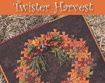 Twister Harvest Quilt Pattern - Fall Autumn Quilted Wall Hanging Pattern - Need'l Love - Primitive Pinwheels Tool