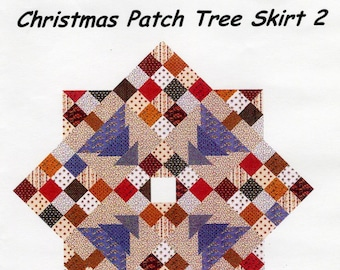 Christmas Patch Tree Skirt 2 Pattern - Patchwork Christmas Tree Skirt  - Quilted Xmas Tree Skirt Pattern - C McCourt Quilt Designs CMQ-128